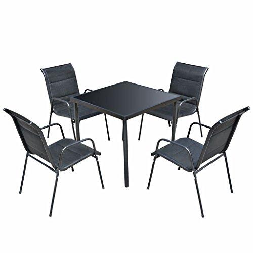 lingjiushopping Ensemble de meubles de salle à manger pour Jard ¨ ªn 5 pièces Noir Matériel de la chaise : Structure en acier avec revêtement en poudre + Textilene avec matelassé imperméable