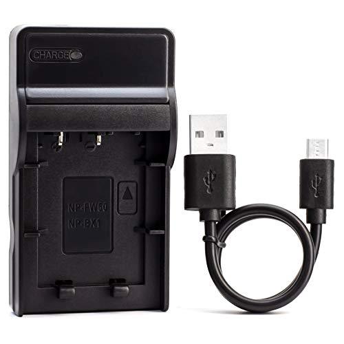 NP-BX1 USB Cargador para Sony Cyber-Shot DSC-RX100, Cyber-Shot DSC-RX100 II, Cyber-Shot DSC-RX100 III, Cyber-Shot DSC-HX90V, Cyber-Shot DSC-WX350, Cyber-Shot DSC-WX500, HDR-AS15 Cámara y Más