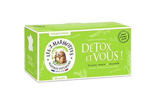Les 2 Marmottes Infusion Détox et Vous- Curcuma, romarin, et citronnelle - Bien-Être et Relaxation - Pour le foie - 30 Sachets par boite - Made in France