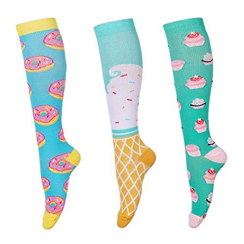 Calcetines de compresión para hombres y mujeres (3 pares) antideslizantes de tubo largo, ideal para correr, enfermera, viajes, vuelo, embarazo 15-25 mmHg