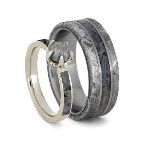 10k White Gold Rough Diamond, Dino Bone Engagement Ring and Gibeon Meteorite, Dinosaur Bone Comfort-Fit Titanium Wedding Band, Set for Him and Her Size, M10-F7