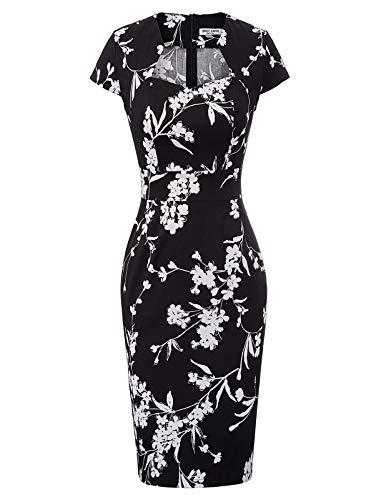 GRACE KARIN 50er Jahre Kleid Rockabilly Kleid Bleistiftkleid Vintage Etuikleid Casual Kleid S CL7597-31