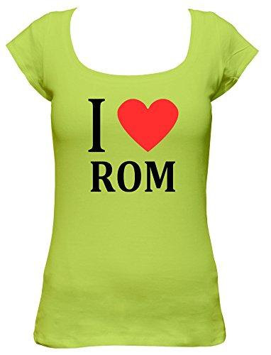 I Love Rom Fun Damen T-Shirt, Größe:XL;Farbe:mintgrün