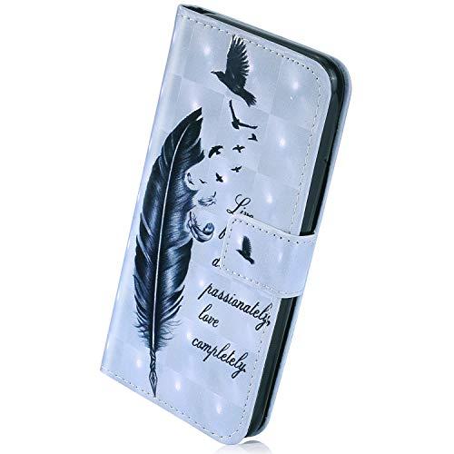 Herbests Kompatibel mit Huawei Honor 9 Lite Handyhülle Handytasche Leder Hülle Bunt Glitzer Bling Glänzendes Leder Schutzhülle Flipcase Brieftasche Hülle Wallet Tasche,Feder Vogel