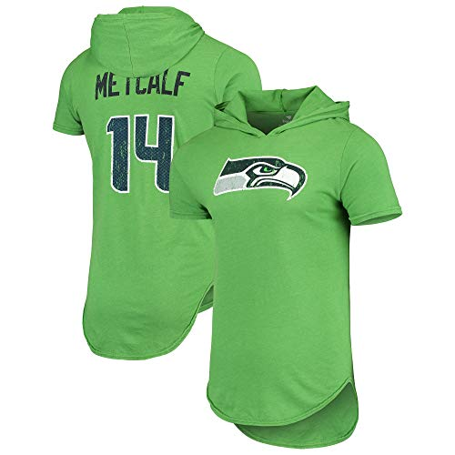 Men's Majestic Threads DK Metcalf Neon Green Seattle Seahawks Player Name & Number Tri-Blend Hoodie T-Shirt