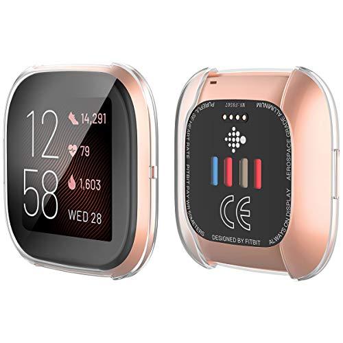 YoLin [2-Pack] Fitbit Versa 2 Schutzhülle Hülle, Weiche Ultradünne TPU Displayschutz All-Around Case für 2019 New Fitbit Versa 2 (2 Transparent)