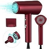 Asciugacapelli Ioni, 1800W Asciugacapelli Professionali da Viaggio a Temperatura Costante Professionale Regolazione Continua Della Velocità del Vento (Rosso)