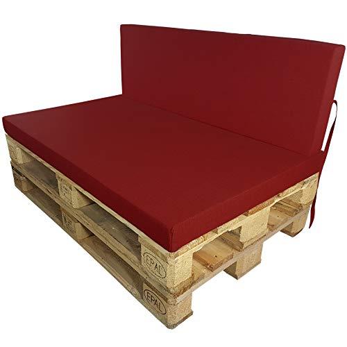 DILUMA Coussins pour Palette Europe Outdoor de proheim - À choissir Coussin d'assise ou de Dossier (Pas Un Set!) pour Sofa en Palette, Couleur:Rouge, Variable:1 Coussin de Dossier 120 x 40 cm