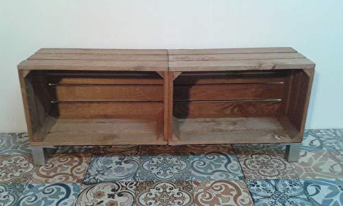 rebajas oferta Modulo con patas de madera 100x25x37 tono envejecido, se pueden fabricar con otros todos de colores, gris envejecido,blanco decapado patas de aluminio cajas cajon mueble tv