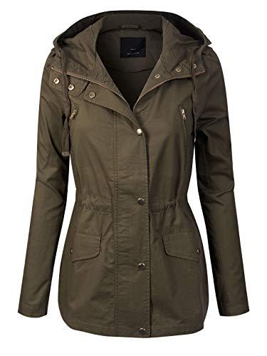 Design by Olivia Women's Lightweight Front Zipper Solid Utility Anorak Hoodie Vest/Jacket Olive S