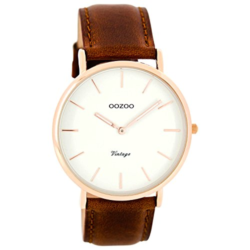 Oozoo Vintage Ultra Slim Leder 40 MM Rose/Weiss/Rotbraun C7760