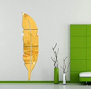 3d Wall STICKERs Removable Feather Mirror Wall STICKERs Decal Art Vinyl Home Kitchen Room Decoration DIY Wall Paper Gold