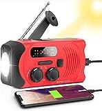 Wind Up Radio, Emergency Solar Powered AM/FM Hand Crank Radio with Bright Flashlight