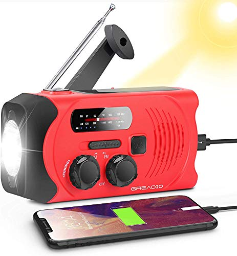 Wind Up Radio, Emergency Solar Powered AM/FM Hand Crank Radio with Bright...