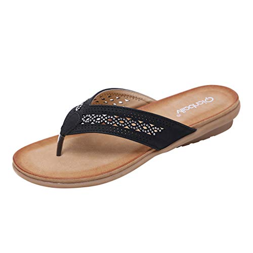 Read About Summer Women's Slippers Open-Toe Flip Flops Sandals Casual Beach Shoes Bohemian Vintage R...