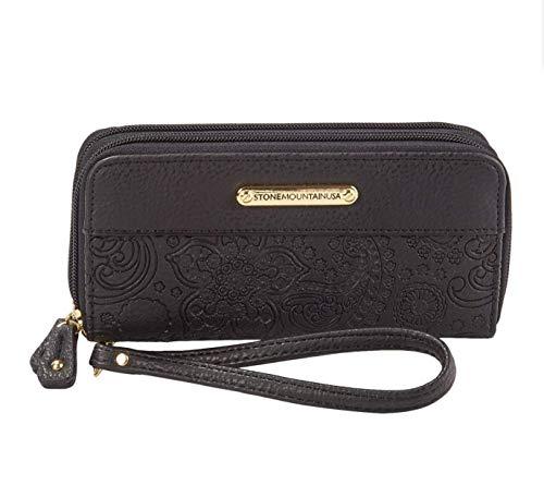 STONE MOUNTAIN black embossed paisley Wristlet Wallet & Checkbook insert SLG