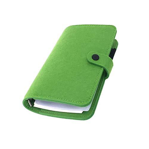 手帳 バインダー紐 システム カバー6穴 フェルト マテリアルシステムハンドブックビジネス学生6リングA5 A6ペンカード入れ, Green 18, A6 combo