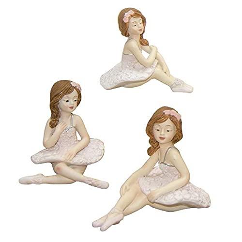 Ingrosso e Risparmio 6 miniaturas de bailarinas de resina con tutú y zapatillas de baile clásicas, surtidas en 3 variantes, ideas de regalo para niña, diseño de baile de comunión (sin caja)