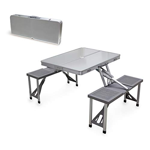 ONIVA - a Picnic Time Brand Portable Folding Table with Aluminum Frame Silver, 36 x 5 x 18
