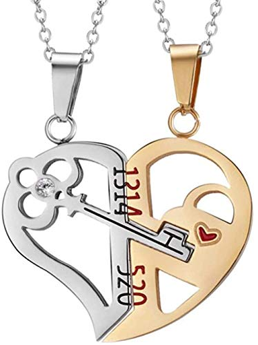 NC66 Collar de Acero Inoxidable Love Key CZ Puzzle para Mujer-Plata + Oro