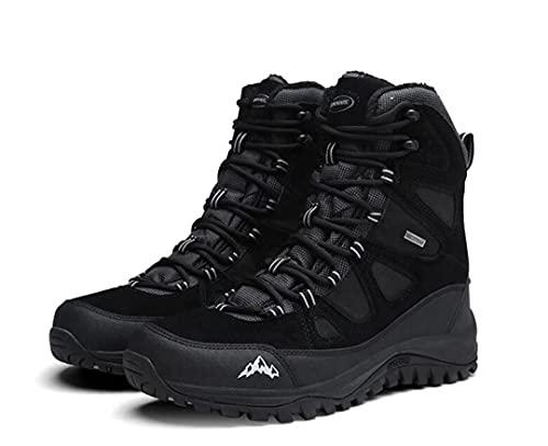 RatenKont Senderismo al Aire Libre Hombres Impermeable Cuero Genuino Forro Lana Botas Nieve Zapatos Trekking Antideslizantes Black 41