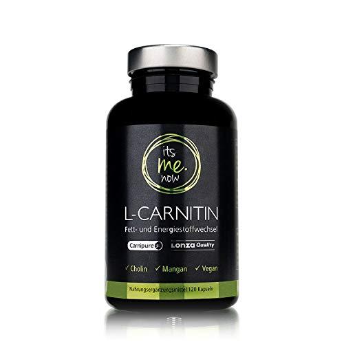 itsme.now® L-Carnitin Carnipure® in zertifizierter Lonza Qualität - frei von Gentechnik I 120 Premium L Carnitin Kapseln vegan mit Cholin & spanischem Pfeffer & Mangan I Sport & Fitness Supplement