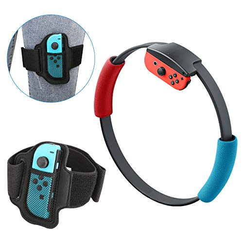 MoKo Mango y Correa para la Pierna Compatible con Ring Fit Adventure Nintendo Switch Joy-con Ring-con, Brazalete de Control Elástica Ajustable de Reemplazo para Juego de Ring Fit Adventure de Switch