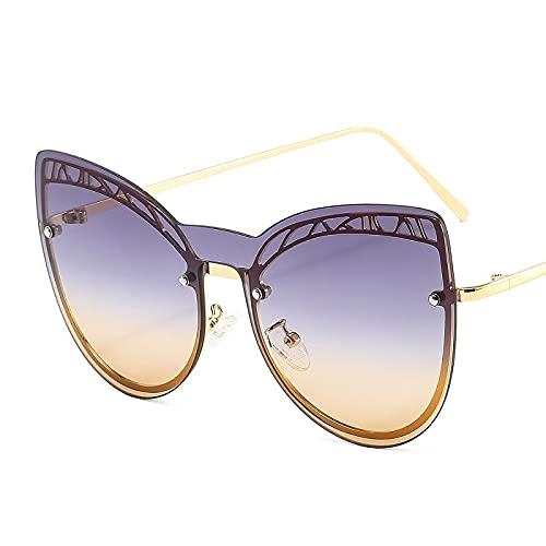 JIYANANDPNTYJ Gafas De Sol Mujer Moda Gato Ojo Mariposa Gafas de Sol Damas gradiente de aleación Negra Marco Ordenador Personal Gafas de Sol de Lentes (Lenses Color : Purple)