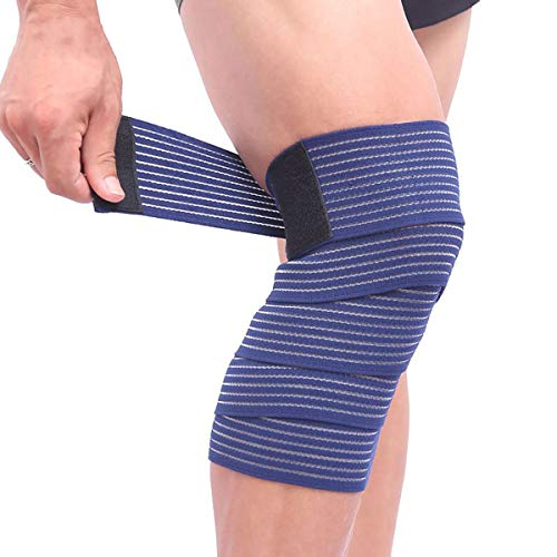 (2 Pack) 1 Pair Elastic Knee Brace Compression Bandage Straps Wraps Support for Legs Pain Relief Knee Pad Sleeve for Women Men Running Basketball Tennis Soccer Football