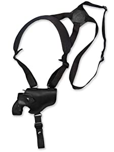 "Barsony Black Leather Cross Harness Shoulder Holster for 2-3"" or Snub Nose Revolvers"