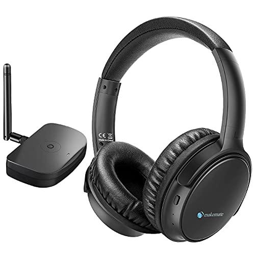 makemate Cuffie Senza Fili per TV con trasmettitore Bluetooth Ottico, BKM200 Cuffie per TV Senza Fil, Facile Plug & Charge, Fino a 50m, Confortevole - Nero