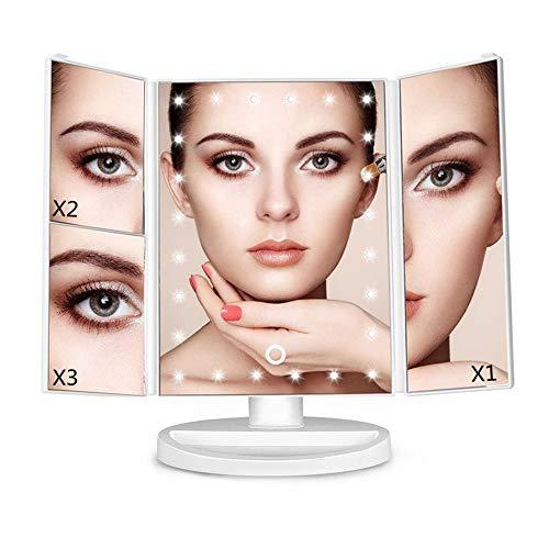 WDEC Espejo Maquillaje con Luz, Espejo de Maquillaje Tríptico con Aumento 1X, 2X, 3X, 21 Luces LED, Pantalla Táctil Lámparas, Brillo Ajustable, Rotación de 90° Espejo Cosmético Carga con USB (Blanco)