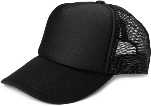 styleBREAKER Gorra de Malla de 5 Paneles, Gorra de Camionero, Gorra de béisbol, Ajustable, Unisex 04023007, Color:Negro