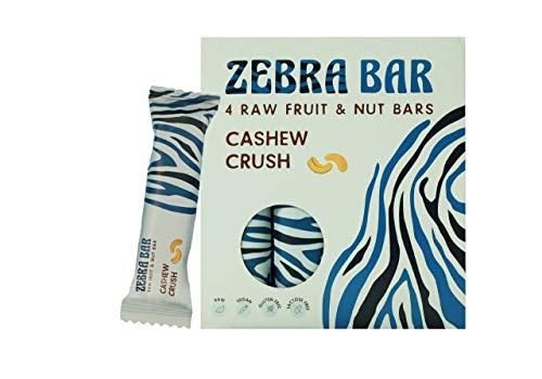 Zebra Bar Cashew Crush Frucht-Nuss-Riegel | ohne künstlichen Zucker |Roh | Vegan |Gluten- und Laktosefrei | Sport Ernährung | Gesunde Ernährung | Superfood |Value Pack 4 x 35 Gramm ZONAMA FOOD