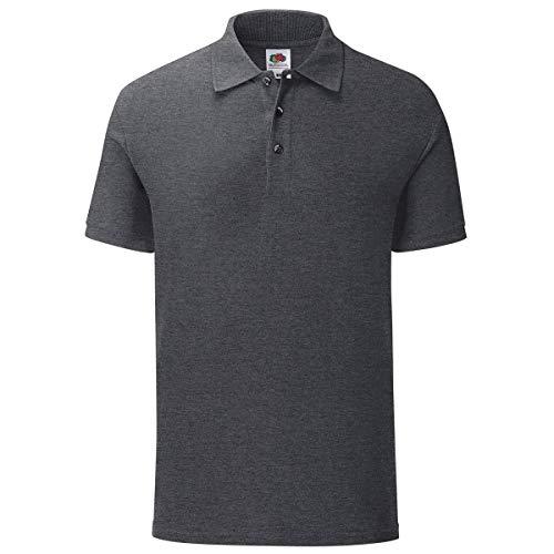 Fruit of the Loom Iconic Polo Shirt Größe S - 3XL, Größe:L, Farbe:dunkelgrau meliert