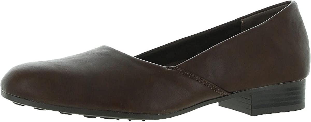 Easy Street Womens Peace Faux Leather Slip On Loafers Brown 7.5 Medium (B,M)