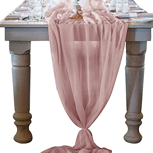 Socomi 10ft Dusty Rose Chiffon Table Runner 29x120 Inches Romantic Wedding Runner Sheer Bridal Party Decorations