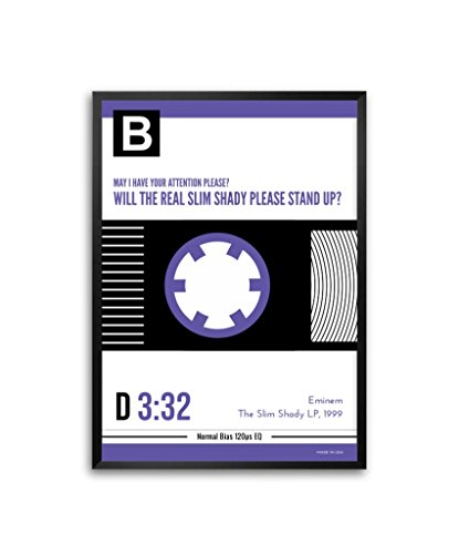 Eminem The Slim Shady LP, 1999Songs Liedtext Music Kassette Typografie in A3(41,9x 29,7cm) gerahmtes Poster