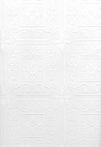 Brewster 429-6757 Paintable Solutions III Scrolls In Boxes Paintable Wallpaper, 20.5-Inch by 396-Inch, White