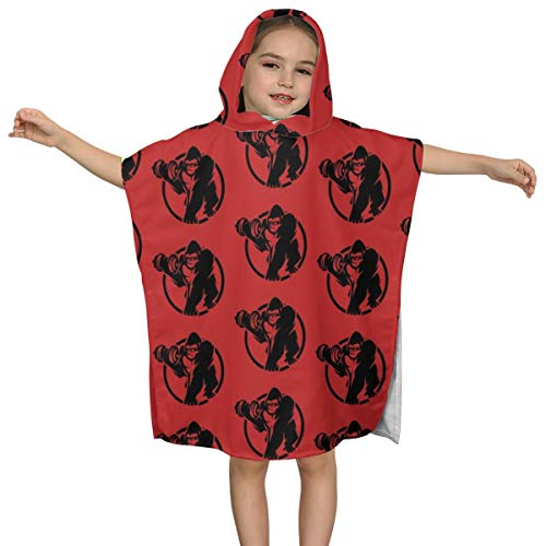 DXTDCMMe Gorilla Dumbbell Fitness Kids Hooded Bath Towel Fast Drying Poncho Robes Bath Beach Towel