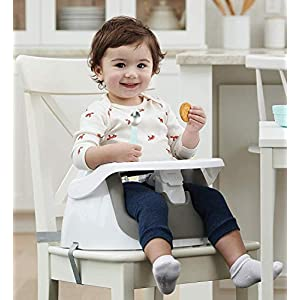 Regalo 2-in-1 Booster Seat and Grow with Me Floor Seat with Removable Feeding Tray, Indoor and Outdoor Activity Chair, Gray