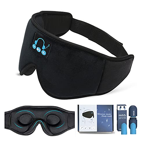Auriculares para Dormir con Bluetooth,3D Antifaz para Dormir,Auriculares inalámbricos Bluetooth Máscara para Dormir,Suave y Cómodo para Siestas,Dormir,Yoga y Viajes
