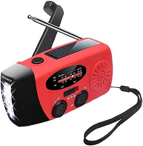 MAOKOT Emergency Radio LED Flashlight Hand Crank Radio Mini Portable Solar Radio AM FM NOAA product image
