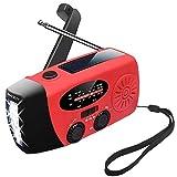 MAOKOT Emergency Radio, LED Flashlight Hand Crank Radio, Mini Portable Solar Radio AM/FM NOAA Weather Radio, 1000mAh Power Bank USB Charger for Smart Phone(Red)