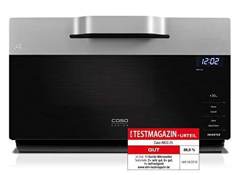 CASO | IMCG25 3-in-1 Mikrowelle mit Grill und Heißluft 2050W |Inverter-Technik für schonendes Erwärmen, Backofen-Funktion 110-200°C, 25L, Design Edelstahl