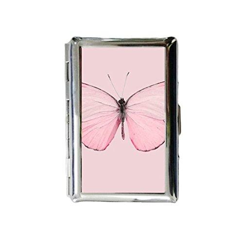 Pink Butterfly Custom Gegraveerde metalen sigarettenhouder Case Sigarettenkoffer of portemonnee.