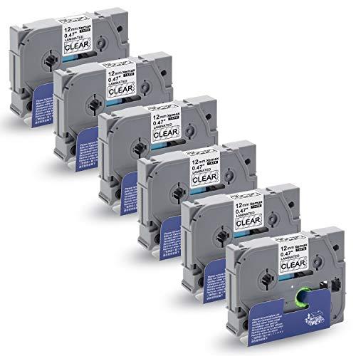 Xemax Compatibile Nastro 12mm x 8m Sostituzione per Brother P-Touch Tze-131 Tz-131 Nero su Transparent Cassette per PT-D210VP PT-H101C PT-1010 PT-P750W PT-E100 PT-H105 PT-1000 PT-D450, Confezione da 6