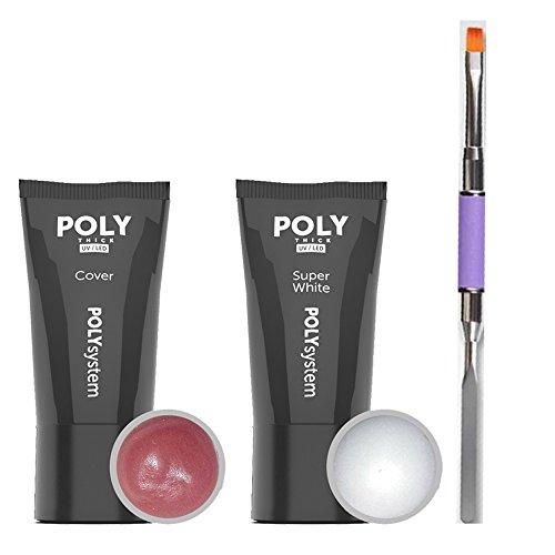 POLY GEL ACRYLIQUE Kit Cover et Super blanc á 30g dans le tube y compris Brosse Poly Gel plate droite avec spatule