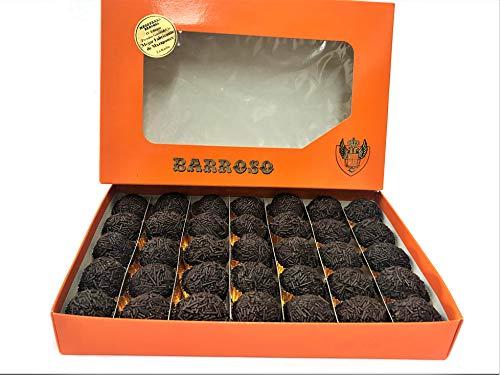 Trufas de Chocolate Negro Artesanas. Mazapanes Barroso. Bolitas de Cacao de Ceilán Recubiertas de Virutas de Chocolate. 35 Unidades. Estuches de 650 gramos.
