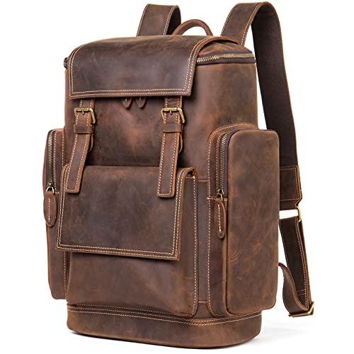 HJUIK Mochila De Cuero Bolsa De Ordenador Grande Mochila Escolar con Compartimento Viaje Retro Mochila Weekender Hombres (Color : Coffee, Size : 30x16.5x44cm)